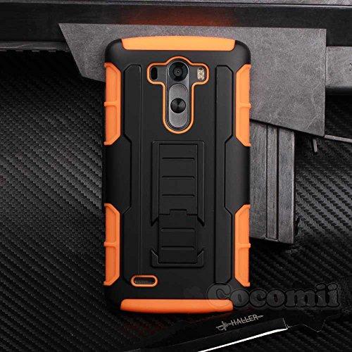 LG G3 Case, Cocomii Robot Armor NEW [Heavy Duty] Premium Belt Clip Holster Kickstand Shockproof Bumper [Military Defender] Full Body Rugged Cover D850 D851 D852 D855 VS985 LS990 US990 (Orange)