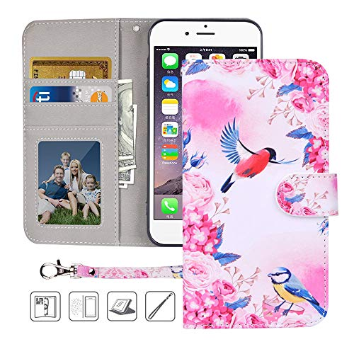 iPhone 6S Plus,6 Plus Wallet Case,MagicSky Premium PU Leather Flip Folio Case Cover with Wrist Strap, Card Holder,Cash Pocket,Kickstand for Apple iPhone 6S Plus/iPhone 6 Plus(Birds Love Flowers)