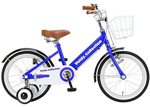 100%完成車 voldy(ボルディ) チビボルディー 子供用自転車 18インチ 三輪車 【泥除け付き カゴ付き こま付き】 男の子 女の子 VO-18KB  ブルー B01NBEVABU