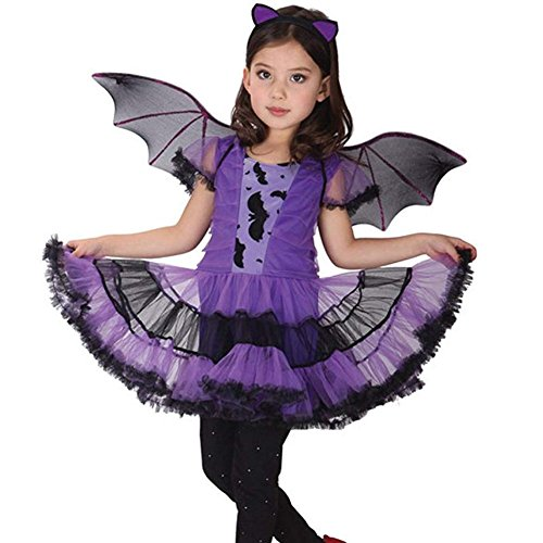 KUFV 3pcs Baby Girl Halloween Clothes Costume Dress+Hair Hoop+Bat Wing Kids Outfit]()