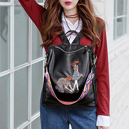 Blue Bag Classic Shoulder L030 Leather Unisex Backpack Men Women Fashion Black2 For Faux and ZwPcHqa