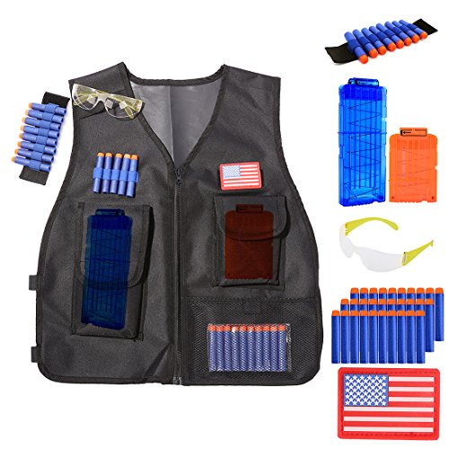 WOLFBUSH elite tactical vest kit for nerf guns n-strike elite series with 2Pcs Bullet Clip + 1Pcs Safety Goggless + 30Pcs foam Darts + 1Pcs Wristband + three Storage Pocket - Spy Men Nude