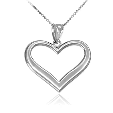 b337d1a61 Amazon.com: Open Heart Necklace in Dainty 925 Sterling Silver, 16 ...