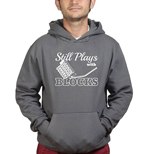 Still Plays With Trem Blocks Guitar Tremolo Floyd Hoodie 3XL Charcoal Grey (Pedal Tuner Cable Strings)
