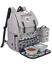 Mobile Dog Gear, Ultimate Week Away Backpack, Includes 2 Food Carriers and 2 Collapsible Silicone Bowls