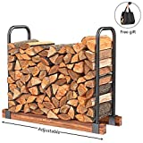 DOEWORKS Heavy Duty Firewood Racks Adjustable Length Log Bracket Rack Holder, Black
