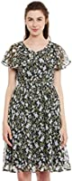 Miss Chase Women's Multicolored V Neck Half Sleeved Slim Fit Printed Midi Dress-NOR