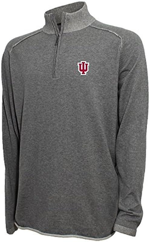 Vesi NCAA Męskie 1/4 Zip fein Pullover, Męskie, 1/4 Zip Fine Gauge Sweater, Medium Gray Heather, Medium: Sport & Freizeit