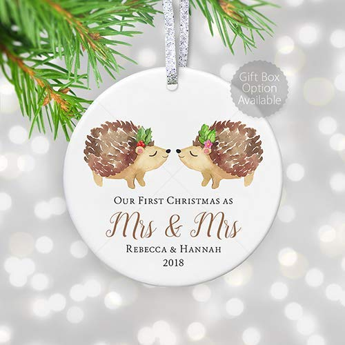 Lesbian Marriage Gift for Couple, First Christmas Married Personalized Ornament Mrs & Mrs, Wedding Gift for Gay Newlywed Couple with Name - 3' Flat Circle Ceramic Ornament - Gold & Silver Ribbon