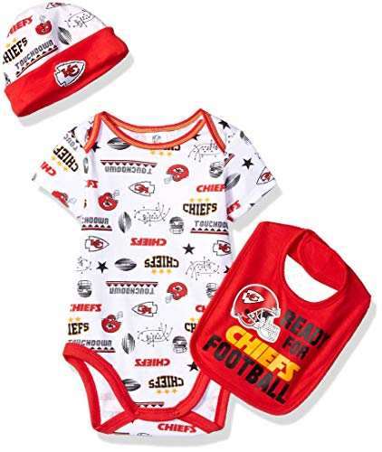 NFL Kansas City Chiefs Unisex-Baby Bodysuit, Bib & Cap Set, Red, 3-6 Months ()