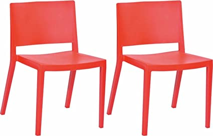 Mod Made Elio Plastic Dining Chair, Red, Set Of 2