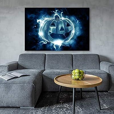 Canvas Wall Art Halloween Pumpkin Lantern Painting Artwork for Home Prints Framed - 12x18 inches