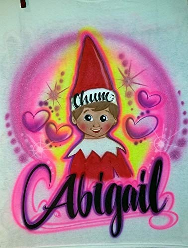 Custom Airbrushed Elf on the Shelf Shirt with Name (Sizes 2T - Adult 5XL) -