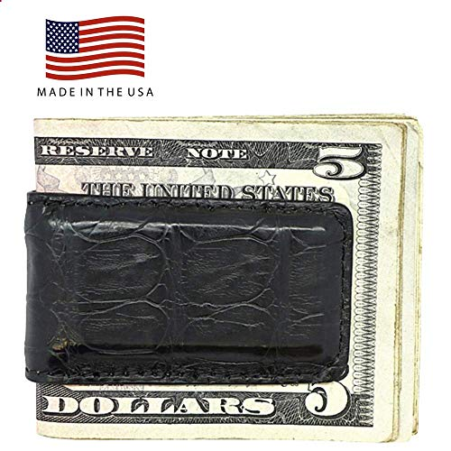 Magnetic Money Clips - Genuine Alligator Crocodile Ostrich Lizard Python - American Factory Direct - Extra Strong Magnets - Made in USA by Real Leather Creations Crocodile Matte Black FBA502