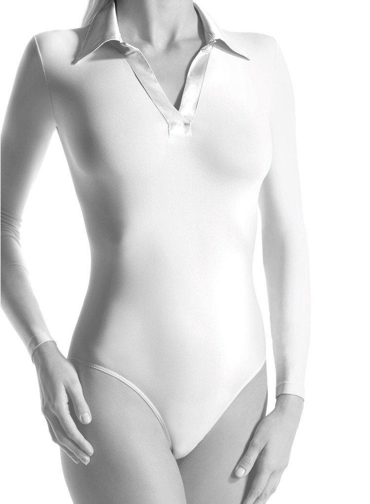 Oroblu Microfiber Shirt Collar Bodysuit-White-L / XL