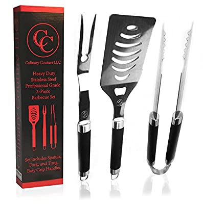 Barbecue Tools 3 Piece Stainless Steel Set - Heavy Duty BBQ Grill Tools for Smokers Gas Electric and Charcoal Outdoor Grills - Oversized Spatula with Long Non-Slip Handles - Gift Box - Bonus Ebook! from Culinary Couture