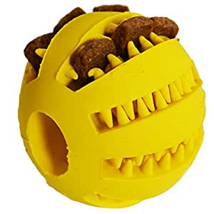 Zenify Puppy Toys Dog Toy Puppy Treat Training Behaviour Ball - Interactive Stimulation Gift for Smarter Dogs and Puppies (Yellow Small)