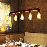 Ladiqi Adjustable Head Vintage Chandeliers Light Industrial Water Pipe Barn Pendant Light Island Light Fixture