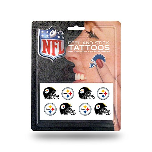 Rico Industries NFL Pittsburgh Steelers Face Tattoos, 8-Piece Set ()