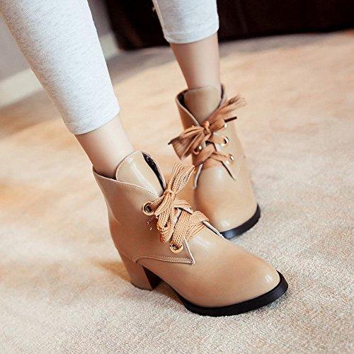 Latasa Para Mujer De Cuero De Imitación De Moda Con Cordones Mid Chunky Heel Tobillo-alto Chukka Botas Albaricoque