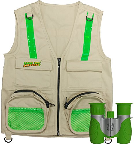 Travel Bug Halloween Costume (Combination Set: Eagle Eye Explorer Cargo Vest for kids with Reflective Safety Straps and 8x21 Magnification Binoculars with Soft Rubber Eye Piece for Boys & Girls Waterproof & Shock-Resistant. S/M)
