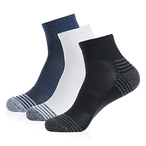 NOVAYARD 3 Pairs Men Cotton Cushion Athletic Ankle Running Socks