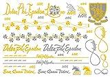 A-List Greek Metallic Temporary Tattoos - Delta Phi Epsilon Gold, Silver Sorority Symbols, Unicorn, Purple Iris, Crest, Rings, Bracelets, Necklaces   Premium Body Jewelry 2 Sheets Tattoo Set