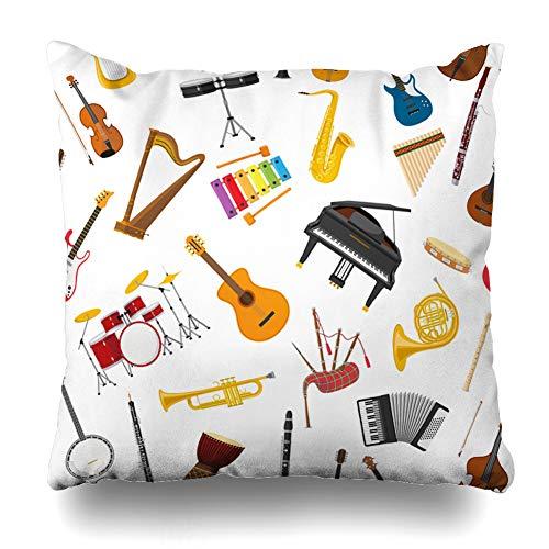 (Ahawoso Throw Pillow Cover Square 20x20 Bagpipes Musical Instrumental Accordion Set Band Banjo Bass Bongos Design Harp Home Decor Cushion Case Pillowcase )