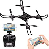RC Drone for Beginners, Rolytoy FPV Drones with 720P HD Camera Live Video 2.4GHz Wifi Headless Mode One Key Return Easy Operation, Foldable Arms Training RC Quad-copter with Altitude Hold