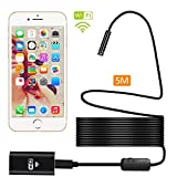 Fixget Wireless WiFi Endoscope [New Version], 5 Meter WiFi Borescope Inspection Camera 2.0 Megapixels HD 8 LED Snake Camera for Andorid & IOS Smartphone, Samsung, iPad & Tablet - Black
