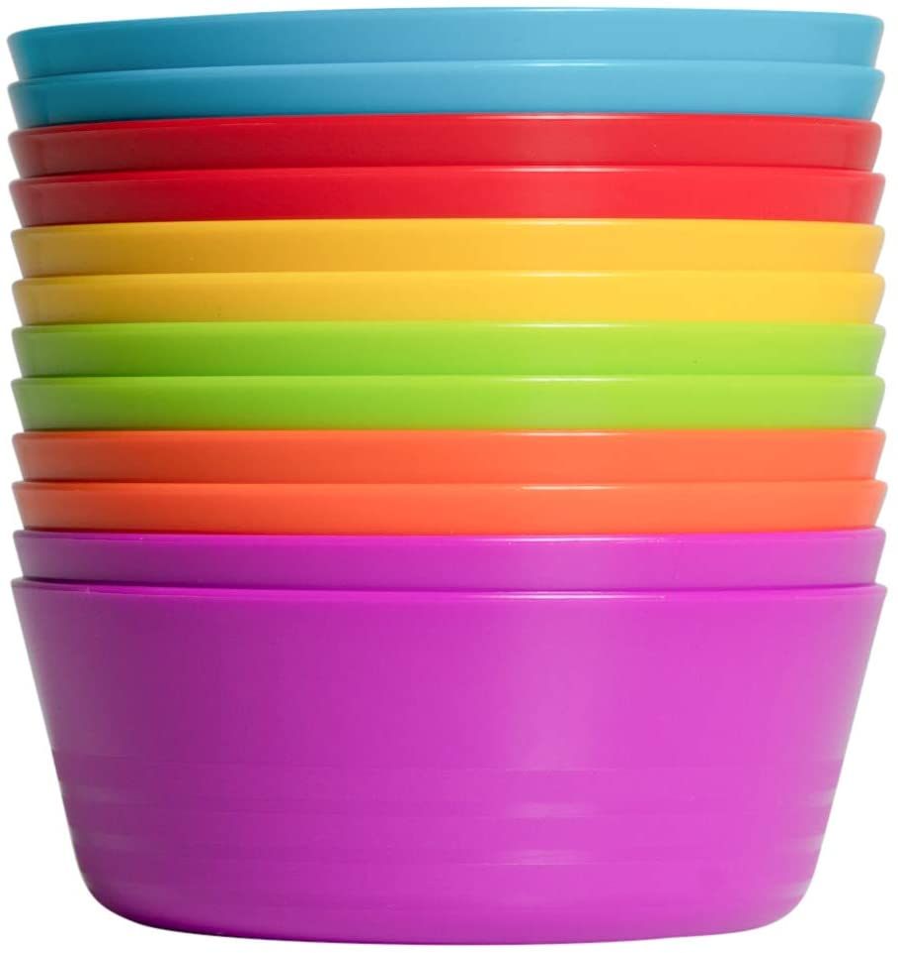 Klickpick Home Set Of 12 Kids colorful Bowls set Toddlers Bowl Set Microwave Dishwasher Safe BPA Free - 6 colors