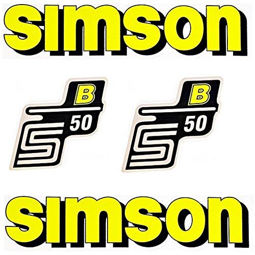 Set Aufkleber Klebefolie Für Simson S50 B Gelb Für Tank Und Seitendeckel