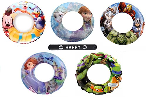 Setof5 Avenger Mutant Ninja Turtles Mickey Mouse Sofia the First Frozen Disney Nickelodeon Character Pool Toys Inflatable Swim Ring Tube Toy for Kids Boys Girls SET OF 5 RINGS with HAPPY (Disney Costume Ideas For Teenagers)