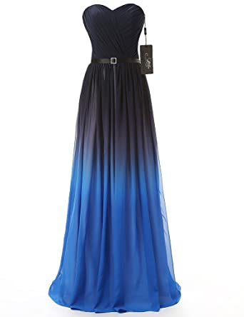 JAEDEN Strapless Gradient Formal Evening Prom Party Dresses Ombre Gown Blue UK30