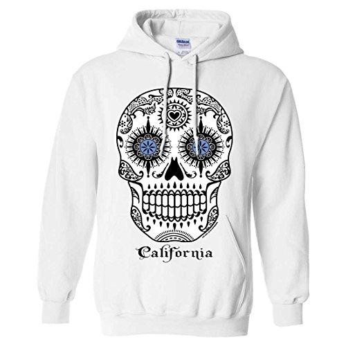 (California Republic Sugar Skull Sweatshirt Hoodie - White)