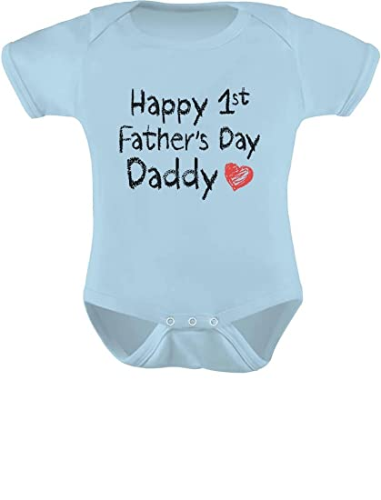 297e23b68 Image Unavailable. Image not available for. Color: Tstars Happy First  Father's Day Daddy Infant Gift for New Dad Baby Bodysuit Newborn Light Blue