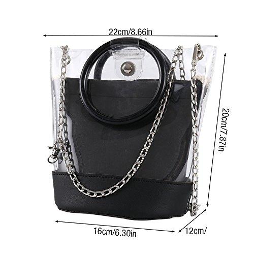 PVC Bag Portable Bag Shoulder Transparent Handbag Bags Black Lady Tote Jelly Women Girls Clear Hootecheu Bags Coross Bag Messenger Body pEqZvxg