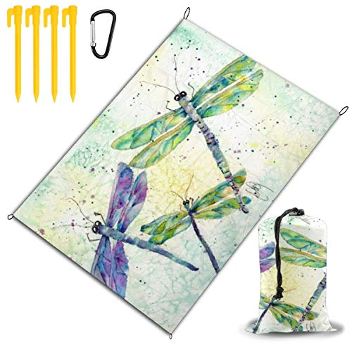 LHLX HOME Xena's Flying Dragonfly Picnic Blanket Handy Beach Mats with Waterproof Backing Anti Sand for Picnics, Beaches, Camping and Outings 78x57