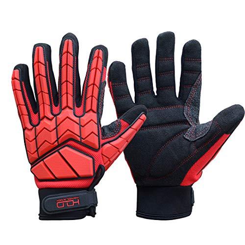 Heavy Duty Mechanic Glove,SBR Padding,Anti-vibration men Work Glove Premium Padded Rigger Glovee,Impact Gloves(Extra Large, Black and Red)