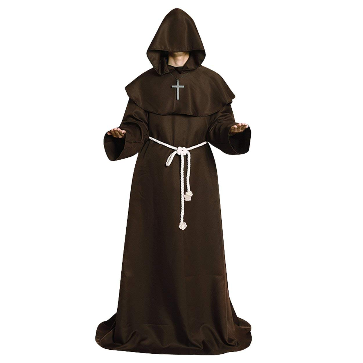 Bvnffghvbjgj Costume Cosplay di Halloween Medioevo Veste dei monaci Monaci Wizar