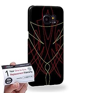 Case88 [Samsung Galaxy S7 Edge] 3D impresa Carcasa/Funda dura para & Tarjeta de garantía - Art Design Yellow and Red Pin Stripes