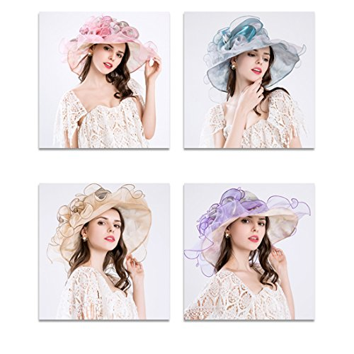 8aab485ac29e8 Harmony Life Women Foldable Organza Church Derby Hat Ruffles Wide Brim