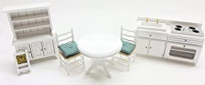 Melody Jane Dollhouse White Kitchen Dining Furniture Set Wooden 1:12 Scale