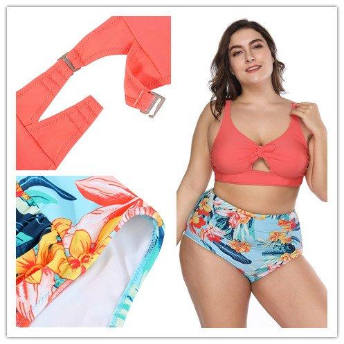 FeelinGirl Bikini Tankini Bademode Badeanzug Monokini Retro Groß Größe Bikini Sets Plus Size Bandeau High Waist Bikini Damen Bauchweg Hellorange sV4Hpd3IMd