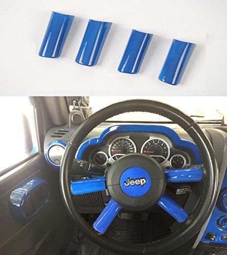 Opar Blue Steering Wheel Spoke Accents for 2007 - 2010 Jeep JK Wrangler & Unlimited