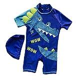 Yunqir Kids Wetsuit 2 Pcs Children's One Piece Swimsuits Kids Crocodile Patterns Sunscreen Wetsuit for Water Sports(Dark Blue)