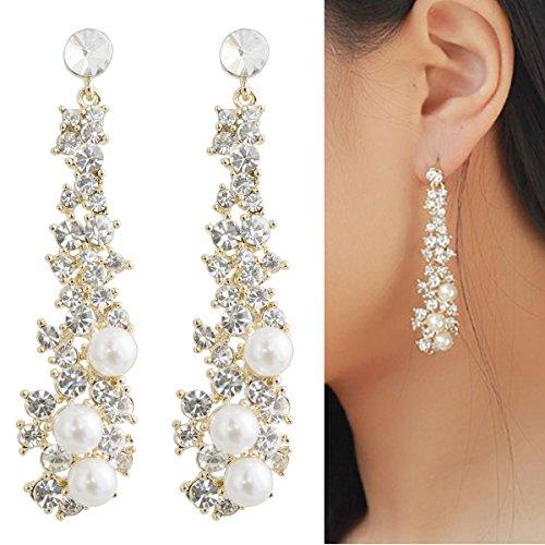 CIShop Waterfall Earrings-UltraSparkling Long Pearl earrings with Simulated Diamonds-Super Beautiful