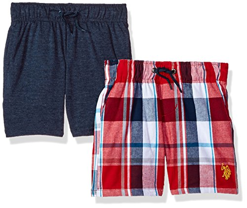 U.S. Polo Assn. Boys' Toddler' 2 Pack Short, Americana Woven Navy Fleece Multi Plaid, -