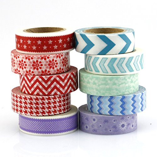 BEST Washi Masking Tape (Set of 10) Japanese Paper Tape Collection - An Assortment of Decorative Tape Mix of Red, Blue, Purple, Colorful Geometric Patterns for Adhesive Scrapbooking Get Creative Now!
