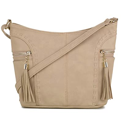DELUXITY   Crossbody Hobo Slouch Bucket Purse Bag   Side Pockets with Tassel    Adjustable Strap 595e701a5d